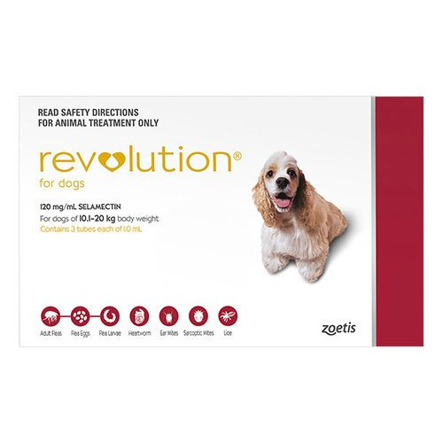 Revolution For Medium Dogs 10.1 To 20Kg (Red)
