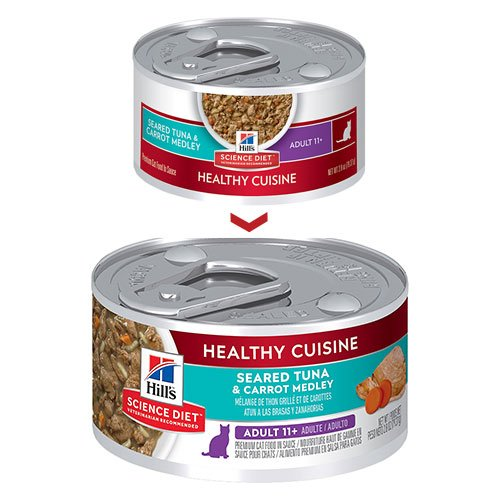 Hill's Science Diet Adult 11+ Healthy Cuisine Tuna & Carrot Medley Canned Cat Food 79 Gm