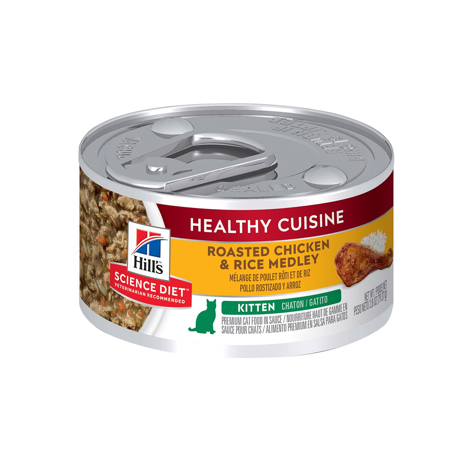 Hill's Science Diet Kitten Healthy Cuisine Chicken & Rice Medley Canned Cat Food  79 Gm