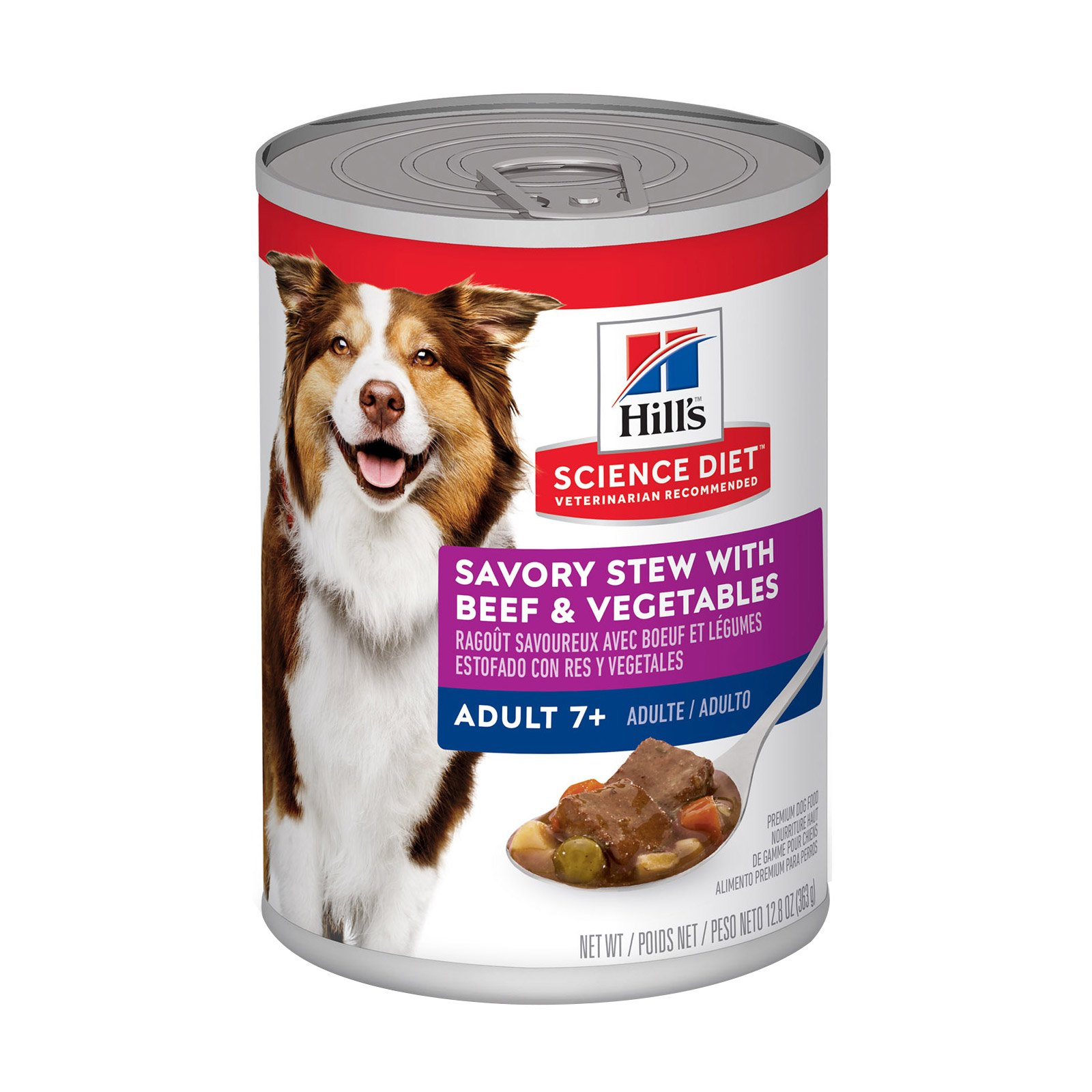 Hill's Science Diet Adult 7+ Savory Stew Beef & Vegetable Canned Dog Food 363 Gm