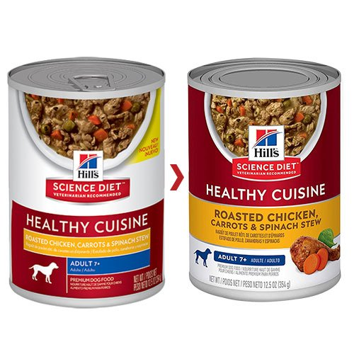 Hill's Science Diet Adult 7+ Healthy Cuisine Roasted Chicken, Carrots & Spinach Stew Canned Dog Food 354 Gm