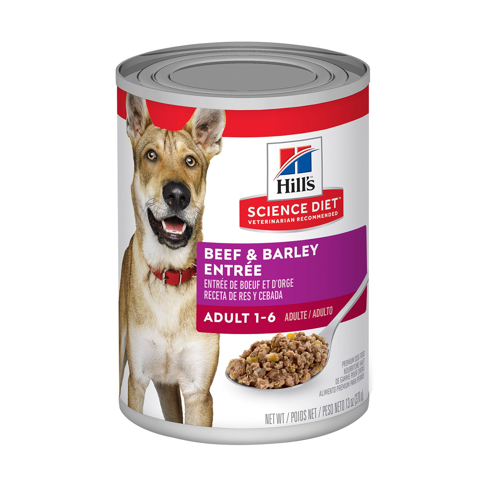 Hills Science Diet Adult Beef & Barley Entrée Canned Dog Food   370 gm