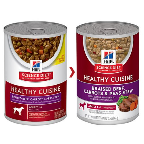 Hill's Science Diet Adult Healthy Cuisine Braised Beef, Carrots & Peas Stew Canned Dog Food 354 Gm