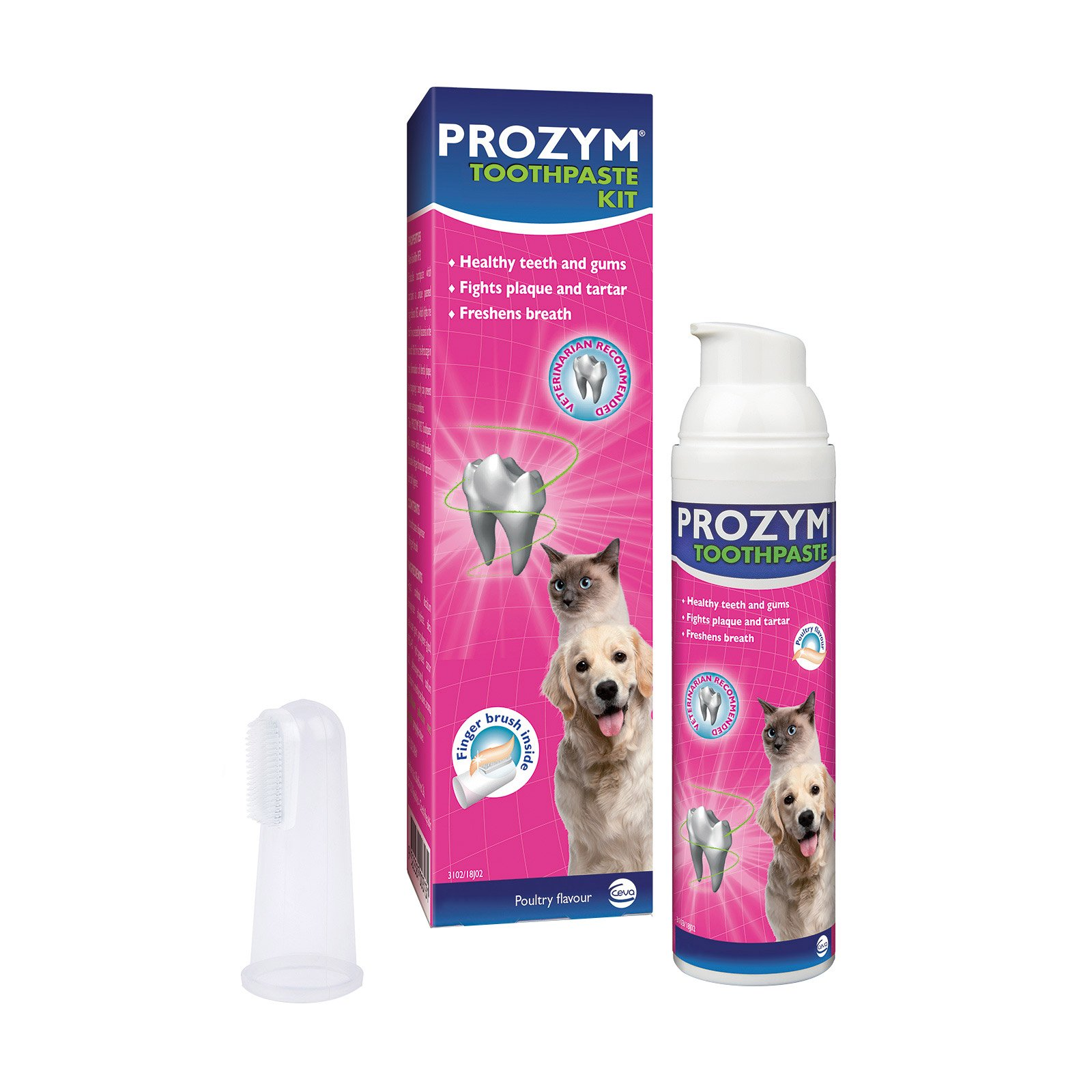Prozym Dental Toothpaste Kit (Chicken Toothpaste + Fingerbrush)