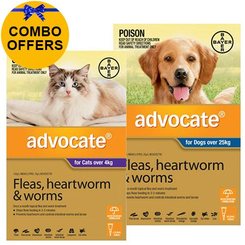 Advocate for Cats Over 4 kg + Advocate for Dogs Combo Pack XLarge Over 25kg (Blue)