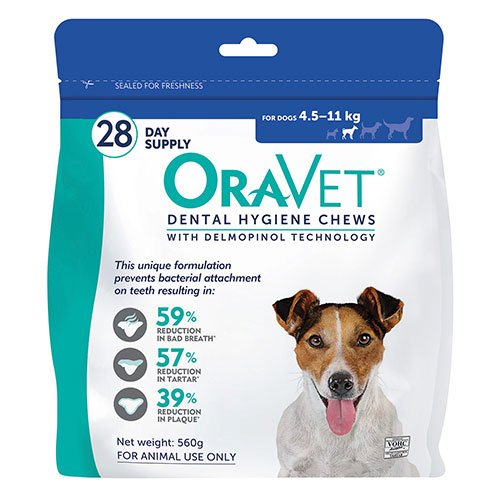 Oravet Dental Chews for Small Dogs 4.5-11 kg (28 Pieces) BLUE