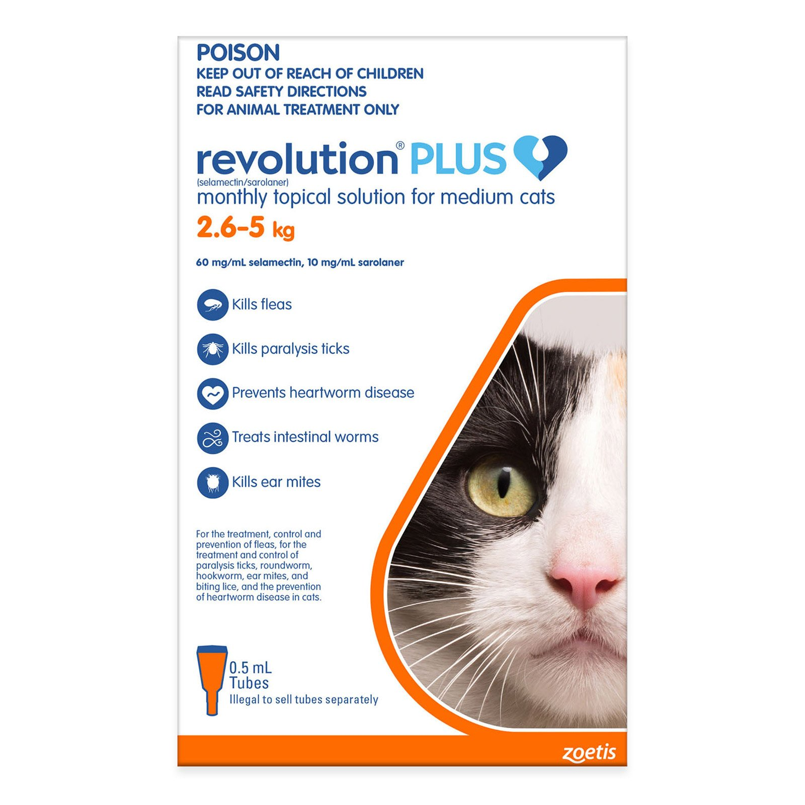 Revolution Plus for Medium Cats 2.5 - 5Kg (Orange)