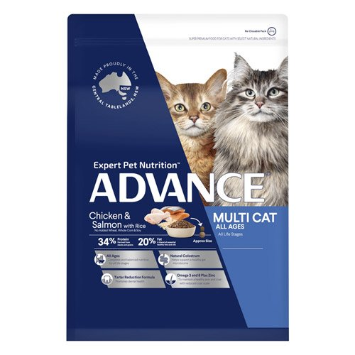 Advance Multi Cat All Ages Dry Cat Food Chicken & Salmon with Rice
