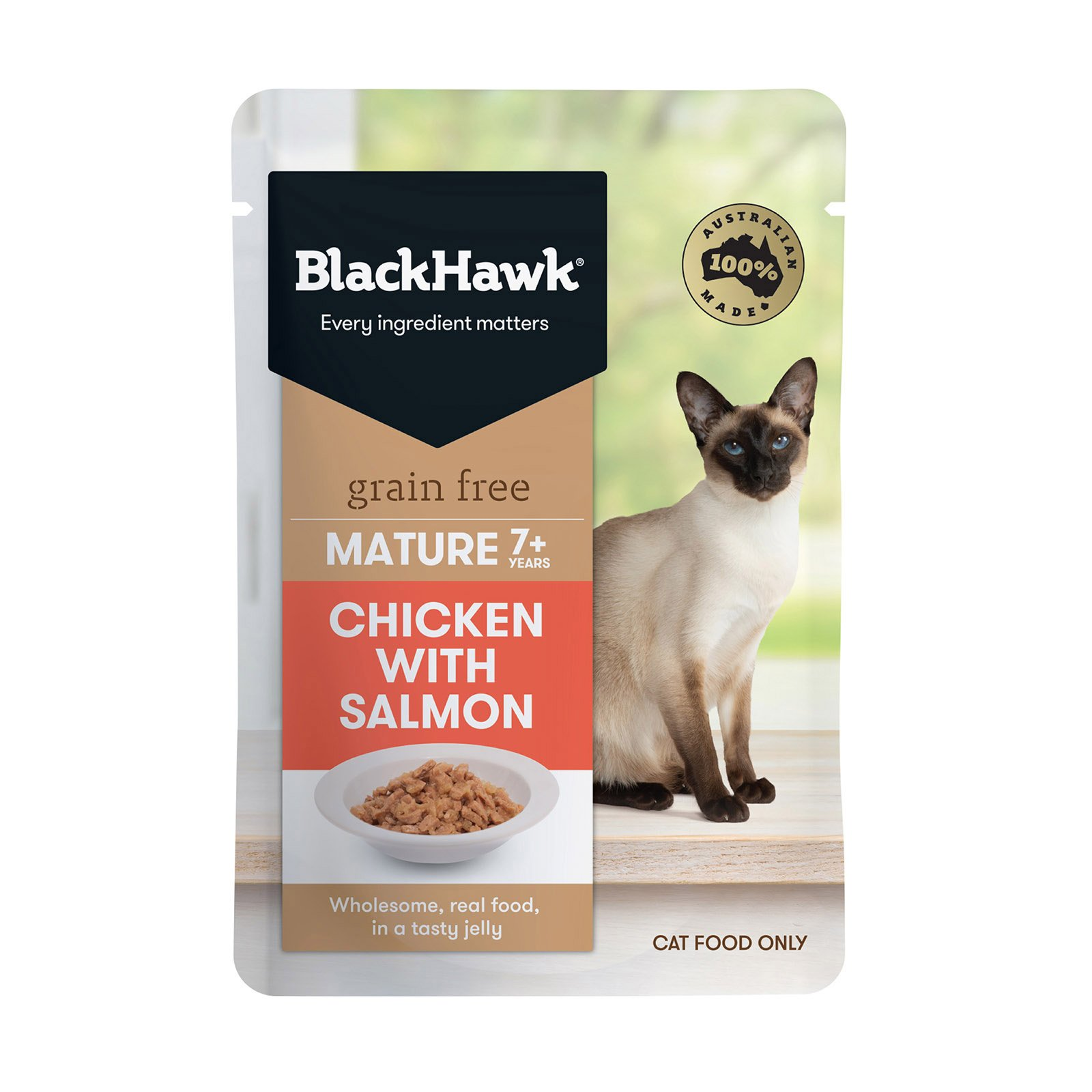 BlackHawk Cat Mature Chicken/Salmon 85g