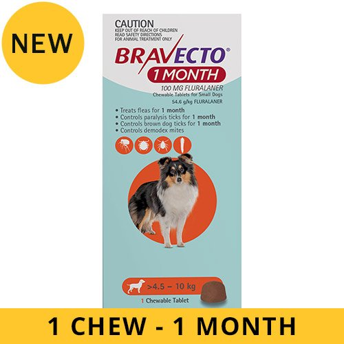 Bravecto 1 Month Chew for Dogs 4.5-10 Kg - Small (Orange)