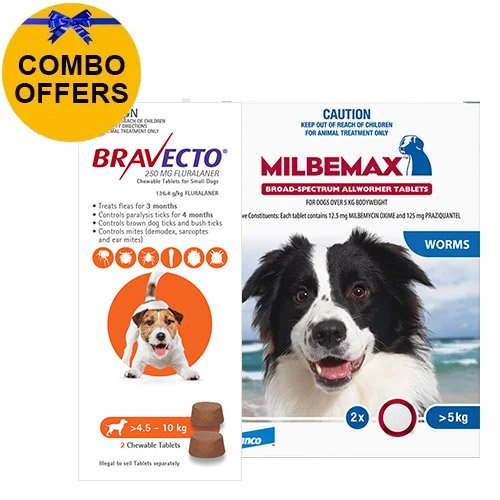 Bravecto Chew + Milbemax Combo Pack for Dogs 4.5-10kg (Small Dogs - Orange)
