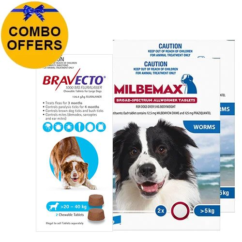 Bravecto Chew + Milbemax Combo Pack for Dogs 20-40kg (Large Dogs - Blue)