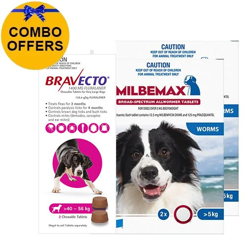 Bravecto Chew + Milbemax Combo Pack for Dogs 40-50kg (X-Large Dogs - Pink)