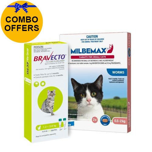Bravecto Spot On + Milbemax Combo Pack For Cats (1.2 - 2 KG) - LIGHT GREEN
