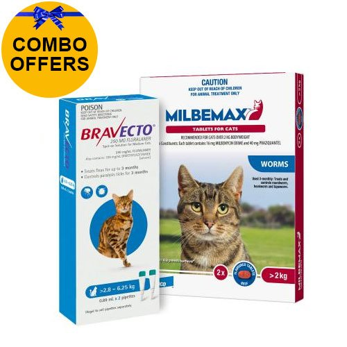 Bravecto Spot On + Milbemax Combo Pack For Cats (2-6.25 kg) - Blue