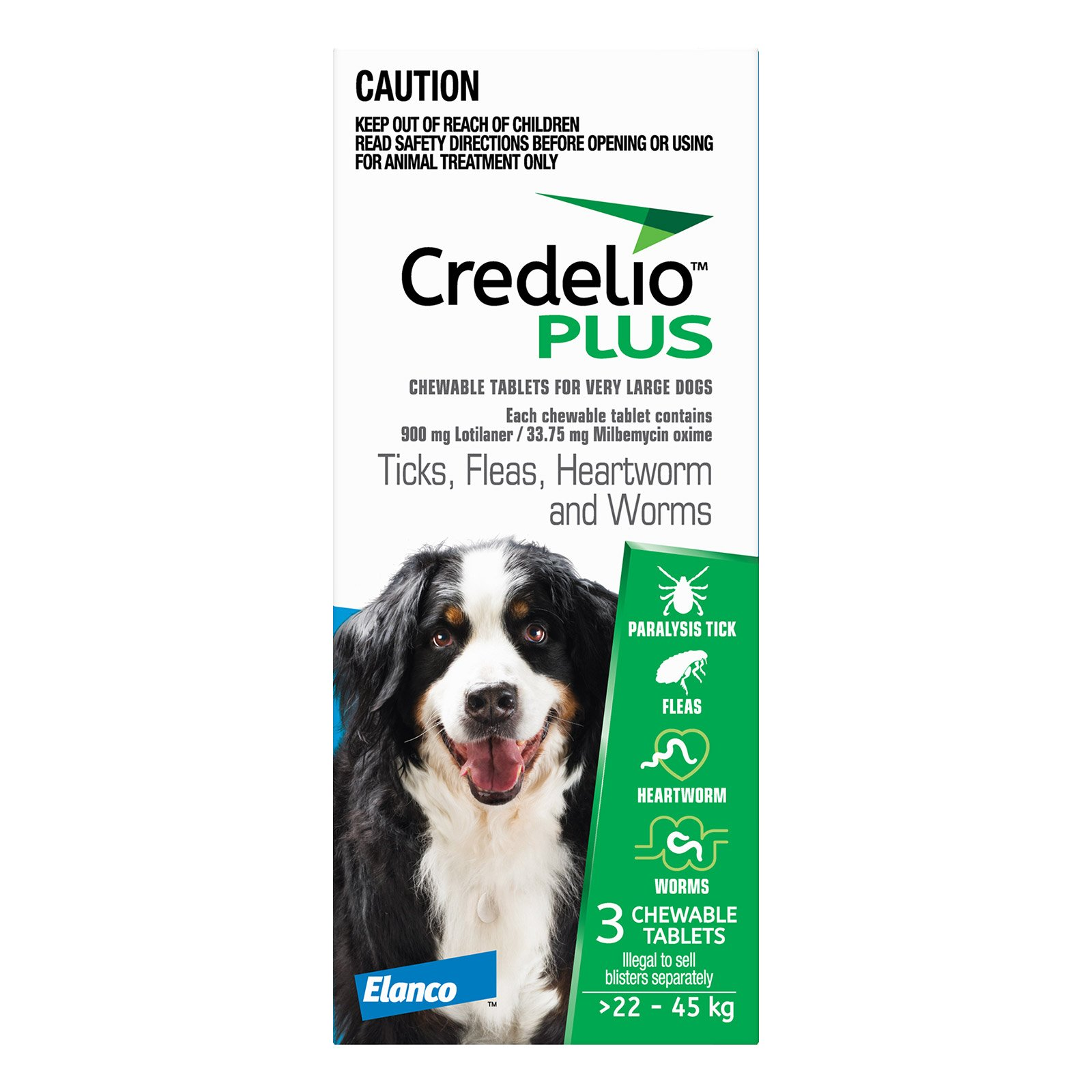 Credelio Plus For Extra Large Dogs 22 - 45 Kg Blue