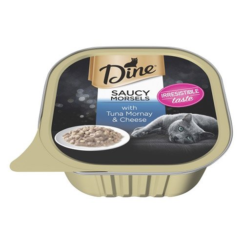 Dine Cat Adult Saucy Morsels Tuna Mornay with Cheese 85g X 14 Cans
