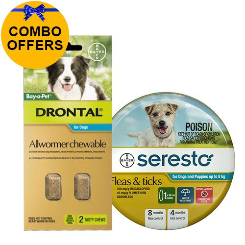 Seresto Collar + Drontal Allwormer Combo Pack  for Dogs Up To 8 Kg