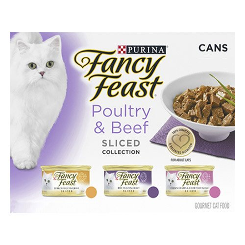 Fancy Feast Cat Adult Variety Pack Poultry and Beef Sliced 85g X 24 Cans