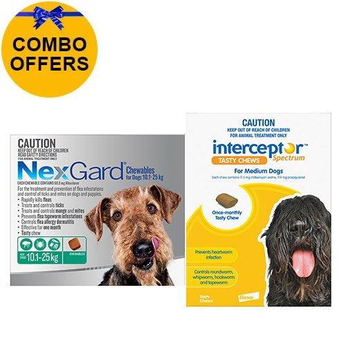 Nexgard + Interceptor Combo Pack For Dogs 10 To 22Kg Nexgard (Green) + Interceptor(Yellow)