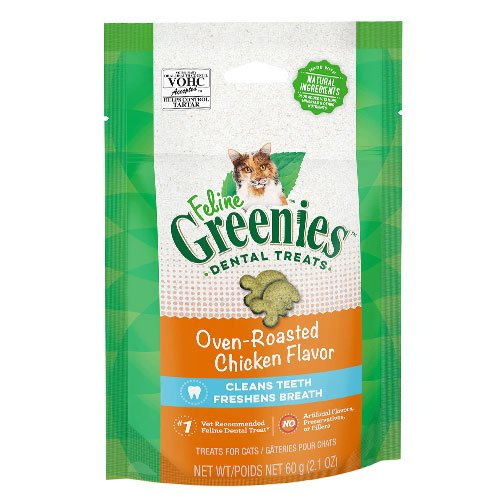 Greenies Feline Dental Treats Roasted Chicken Flavour for Cats 60 gm