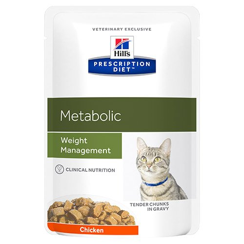 Hill's Prescription Diet Metabolic Weight Management Chicken Cat Food Pouches 85gx12