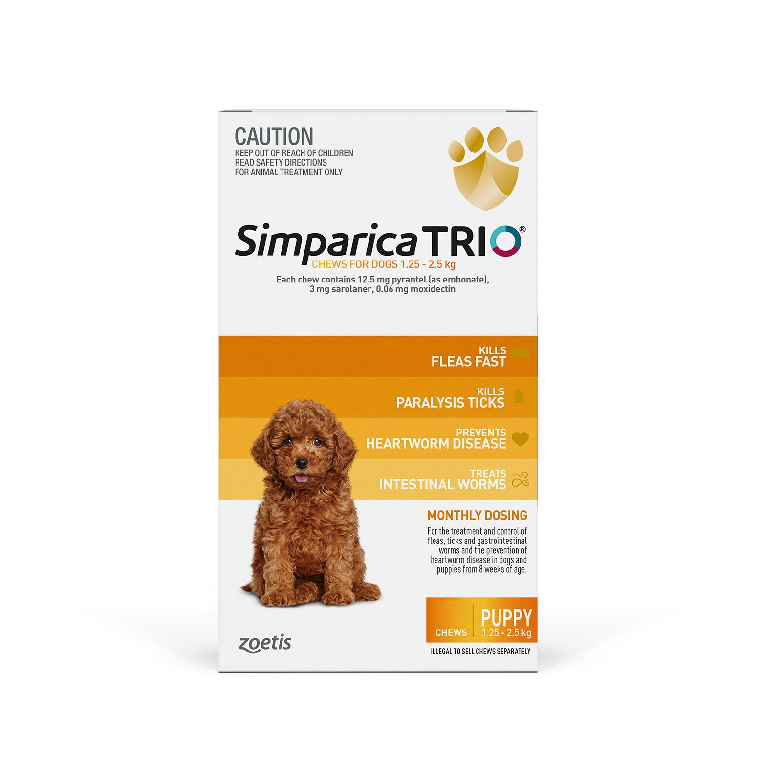 Simparica TRIO for Puppy 1.25-2.5kg (Yellow)