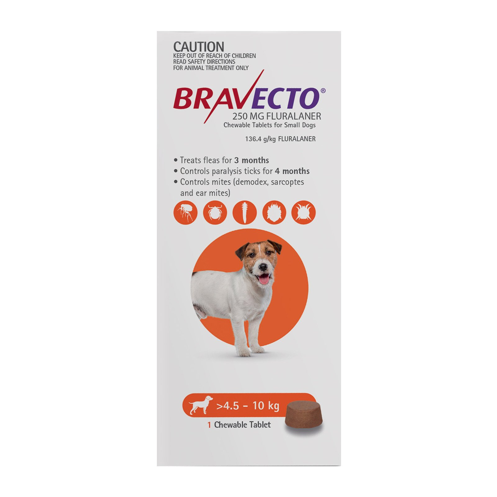 Bravecto For Small Dogs 4.5-10Kg (Orange)