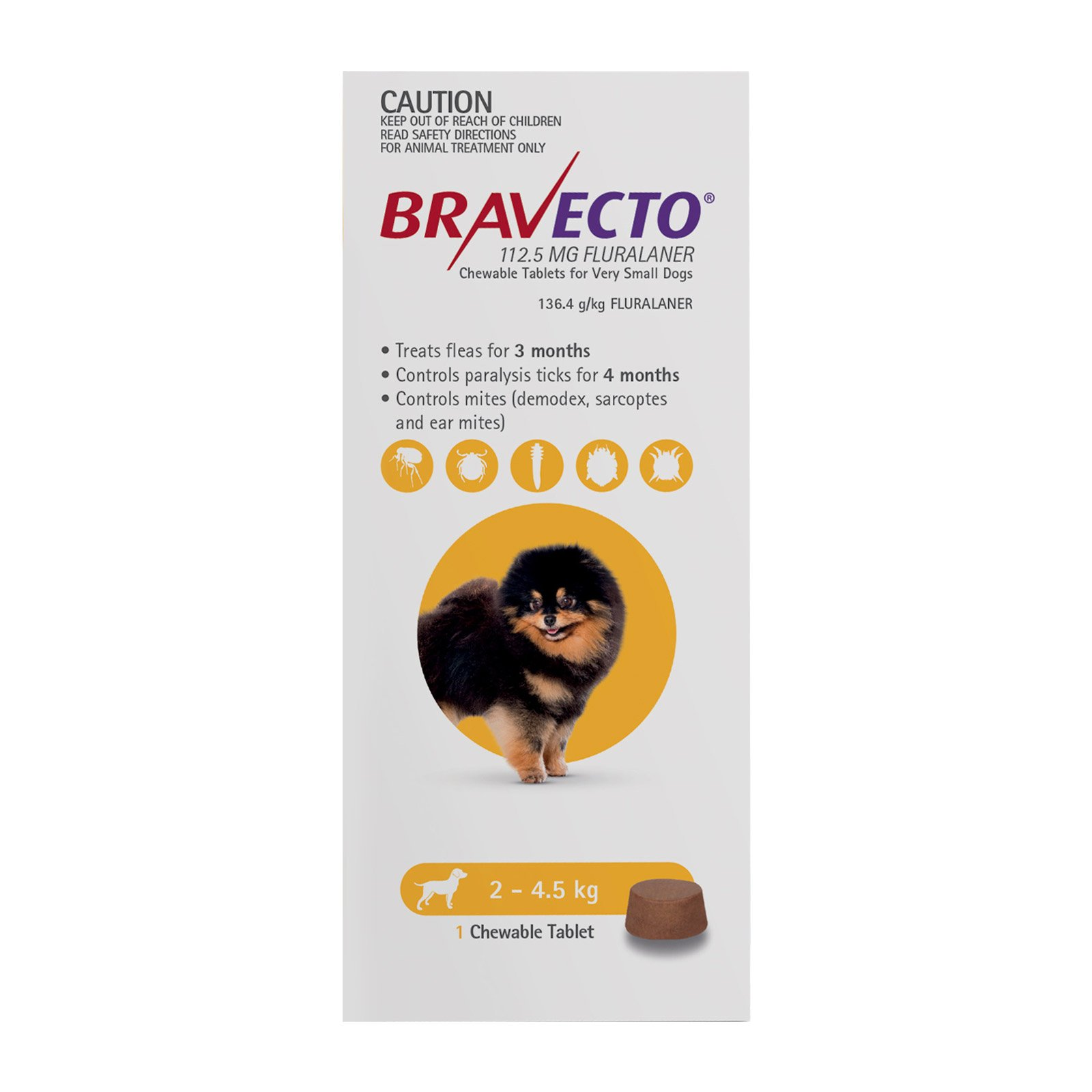 Bravecto For Toy Dogs 2-4.5Kg (Yellow)