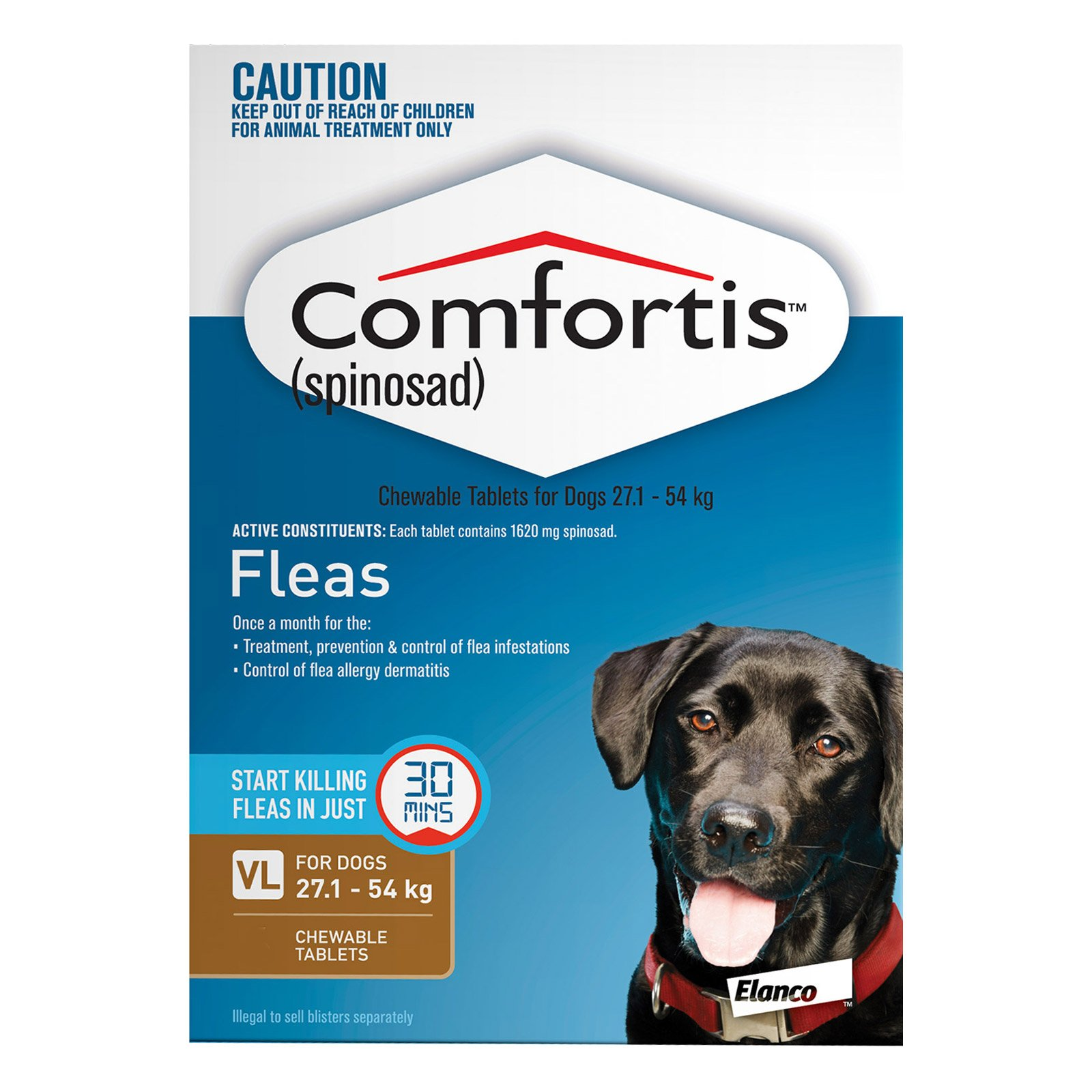 Comfortis For Dogs 27.1 - 54 Kg (Brown)