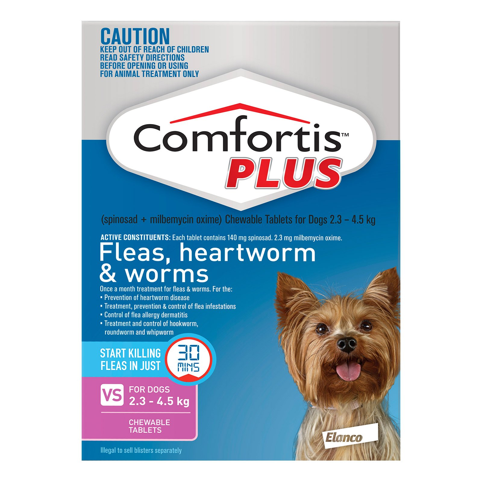 Comfortis Plus for XSmall Dogs 2.3-4.5kg (Pink)
