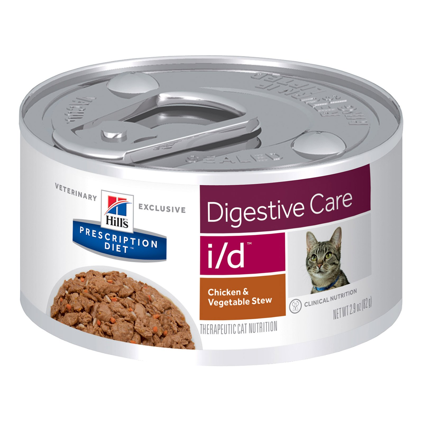 Hill's Prescription Diet i/d Digestive Care Canned Cat Food 82 gm NEW chicken & vegetable stew flavour