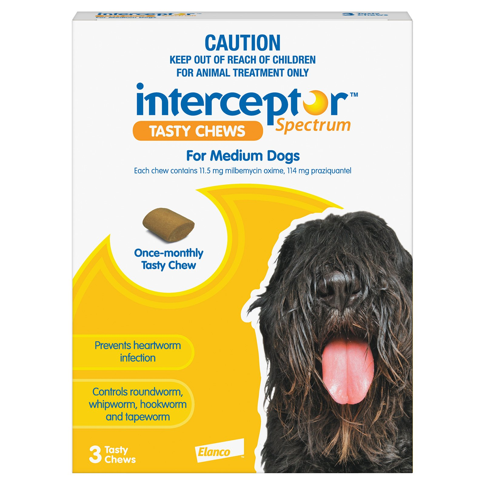 Interceptor Spectrum Tasty Chews For Medium Dogs 11 To 22Kg (Yellow)