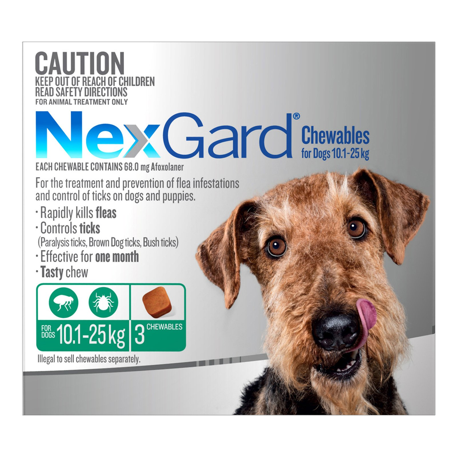 Nexgard Chewables For Medium Dogs (10.1 - 25 Kg) Green