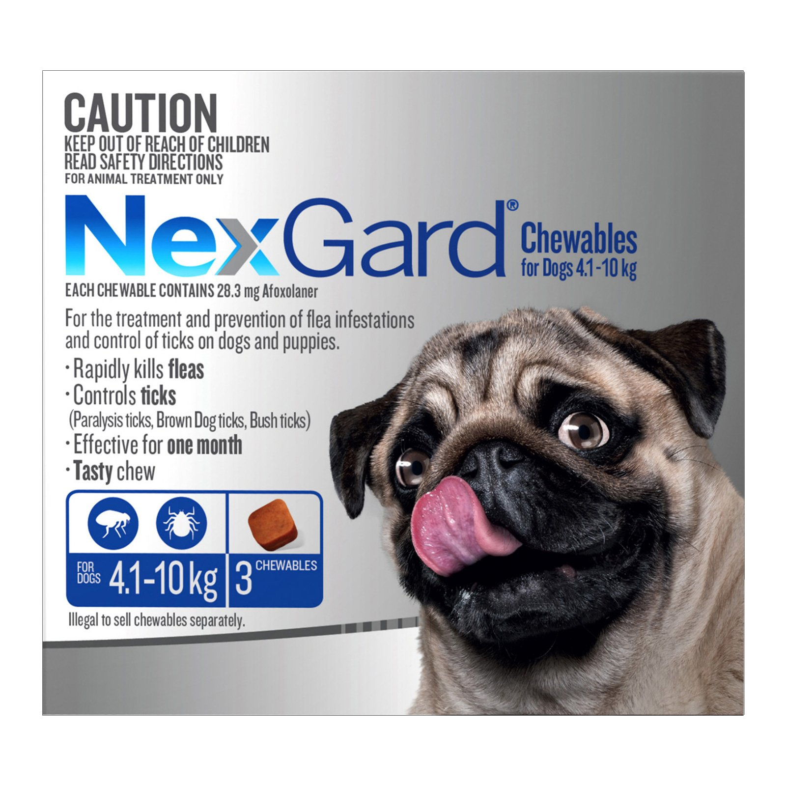 Nexgard Chewables For Small Dogs (4.1 - 10 Kg) Blue