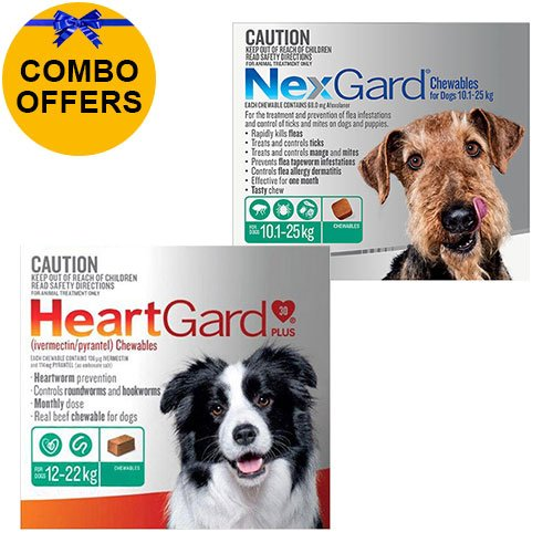 Heartgard + Nexgard Combo Pack for Large DogsHeartgard Plus Green 12-22kg + Nexgard Green 10-25kg