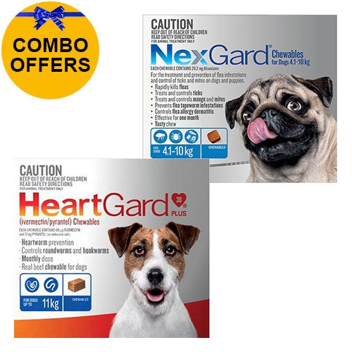 Heartgard + Nexgard Combo Pack for Medium DogsHeartgard Plus Blue 0-11kg + Nexgard Blue 4-10kg
