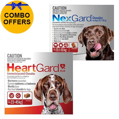 Heartgard + Nexgard Combo Pack for Extra Large DogsHeartgard Plus Brown 23-45kg + Nexgard Red 25-50kg