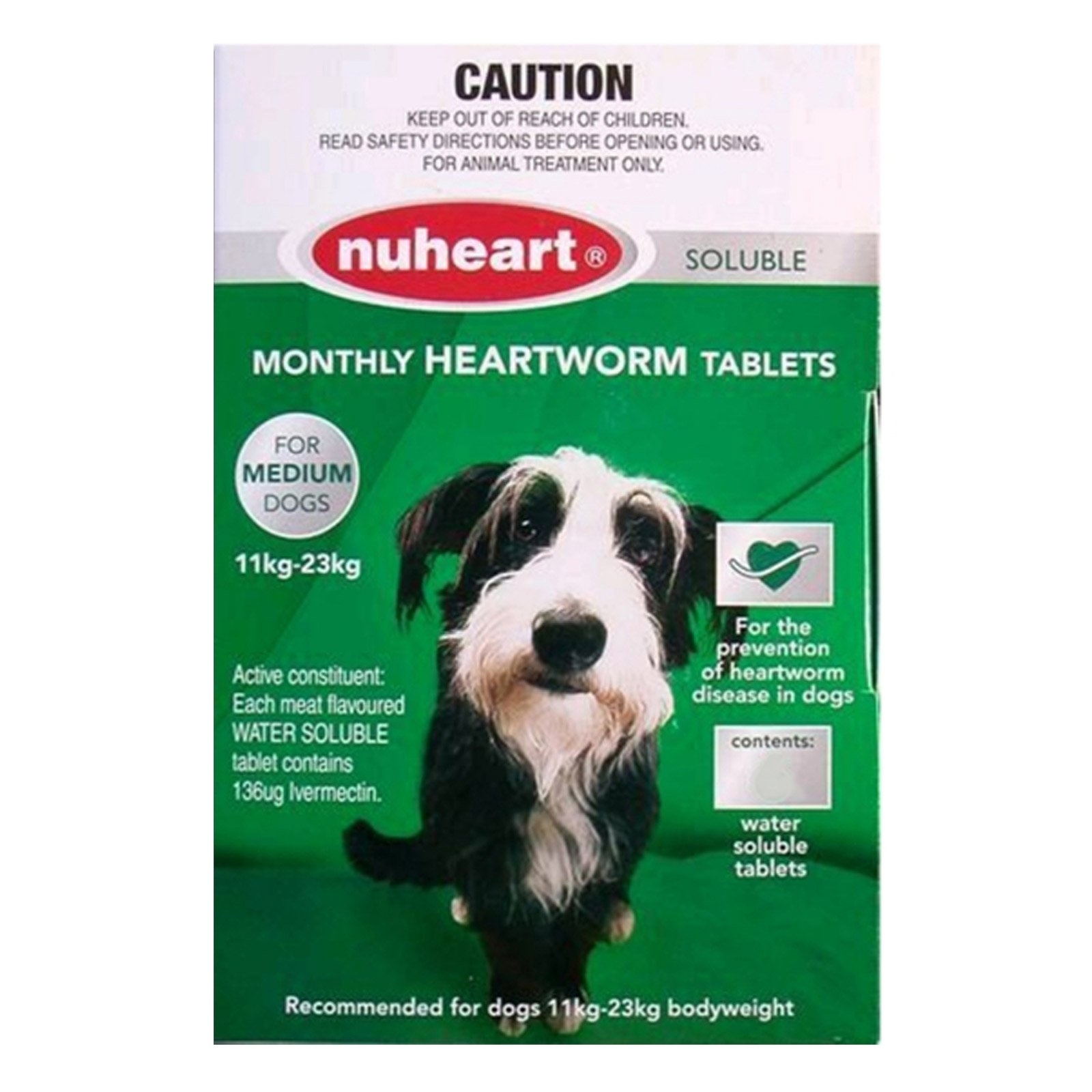 Nuheart For Dogs Generic Heartgard Tabs For Medium Dogs - Nuheart 11 To 23Kg (Green)