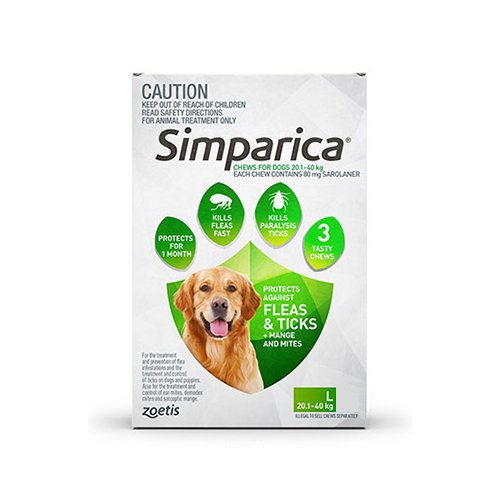 Simparica Chewables 80MG for Large Dogs 20.1-40KG (GREEN)