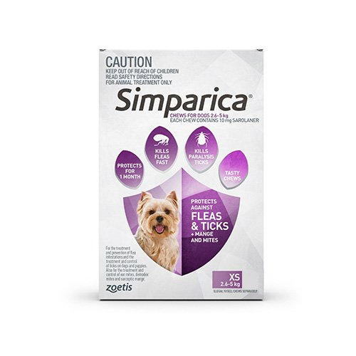 Simparica Chewables 10MG for Very Small Dogs 2.5-5KG (PURPLE)