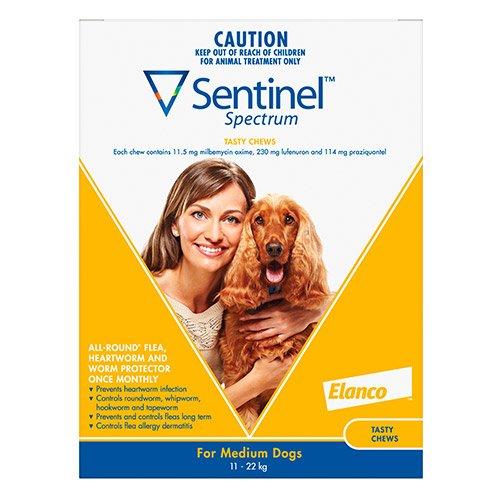 Sentinel Spectrum Tasty Chews For Medium Dogs 11 To 22Kg (Yellow)