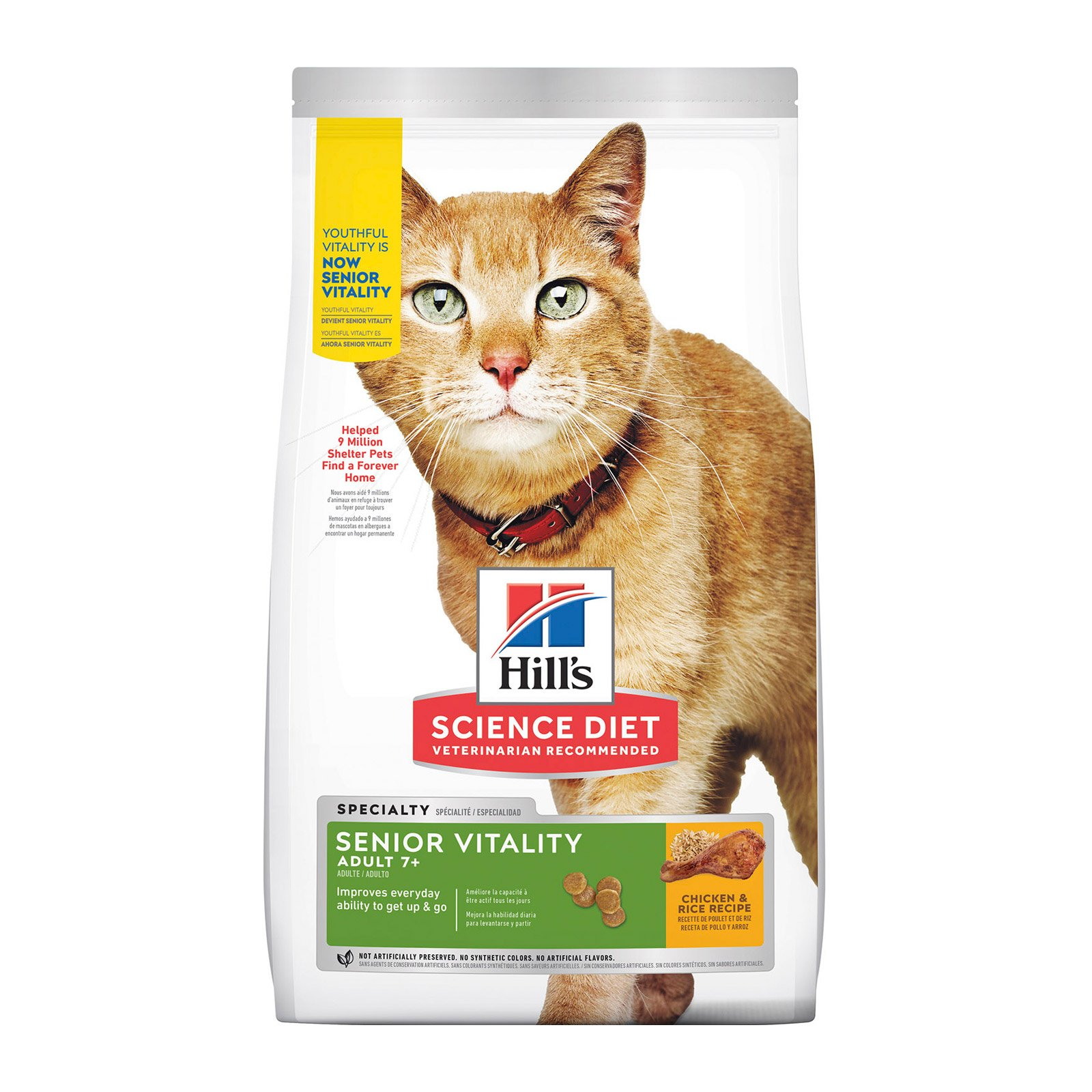 Hill's Science Diet Adult 7+ Youthful Vitality Chicken & Rice Senior Dry Cat Food
