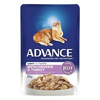 Advance Light Chicken & Turkey in Jelly Adult Cat Wet Food Pouch