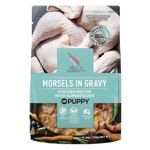 Billy & Margot Dog Puppy Morsels in Gravy Chicken with Superfoods 150gm X 12 Pouches