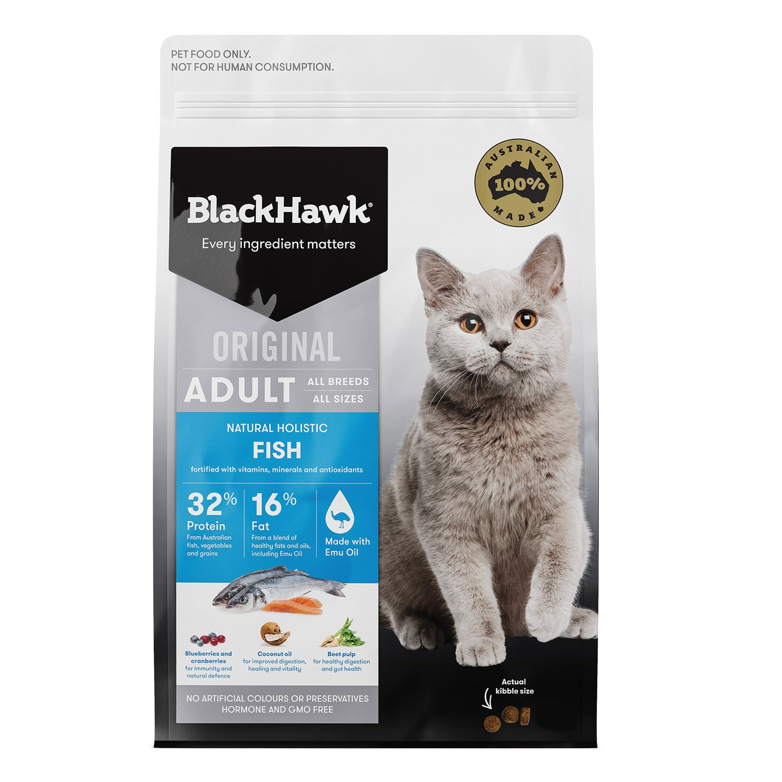 Black Hawk Fish Adult Dry Cat Food New Formula   8 Kgs