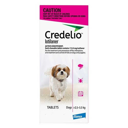 Credelio For Very Small Dogs Pink 2.5 - 5.5kg 3 Pack