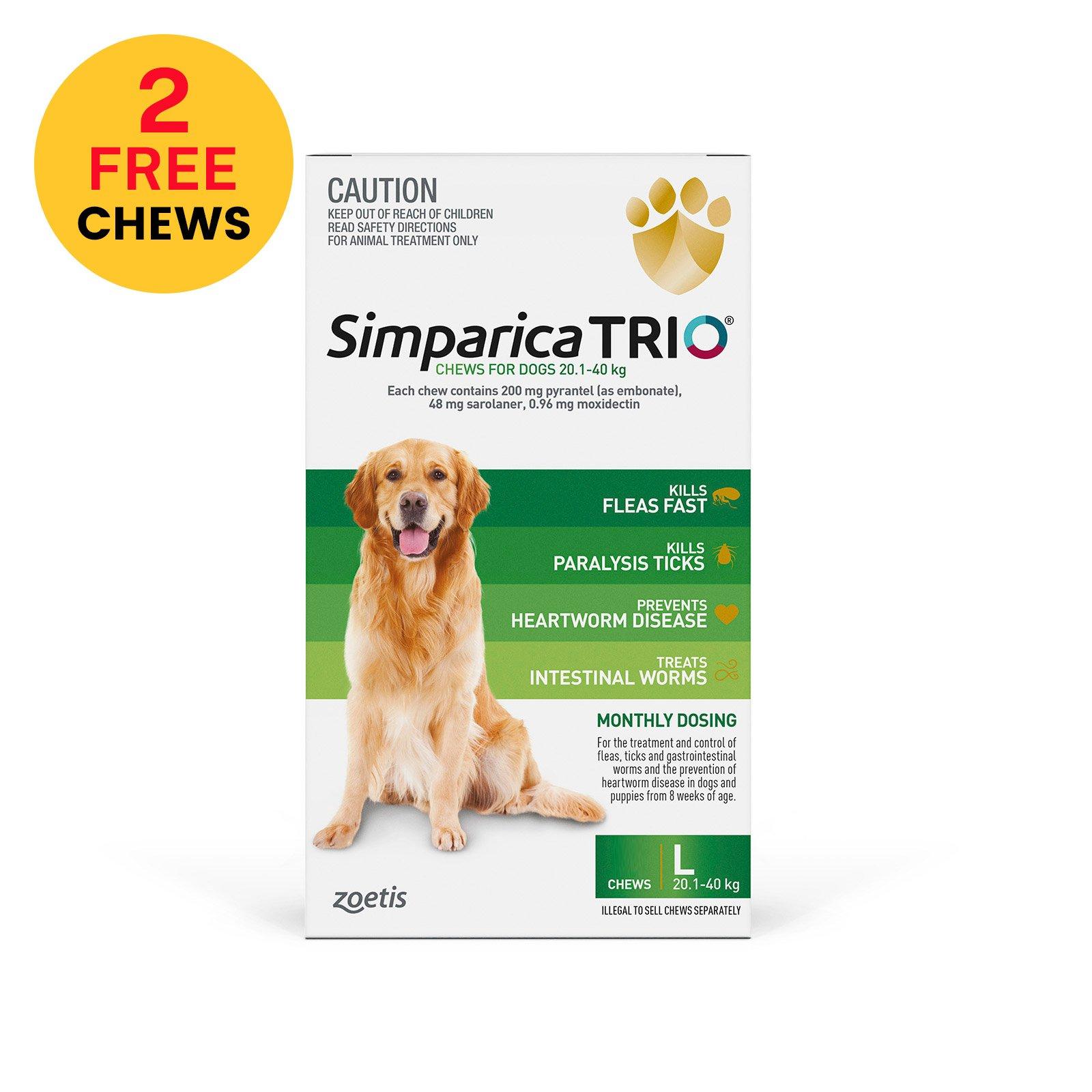 Simparica TRIO for Large Dogs 20.1-40kg (Green)