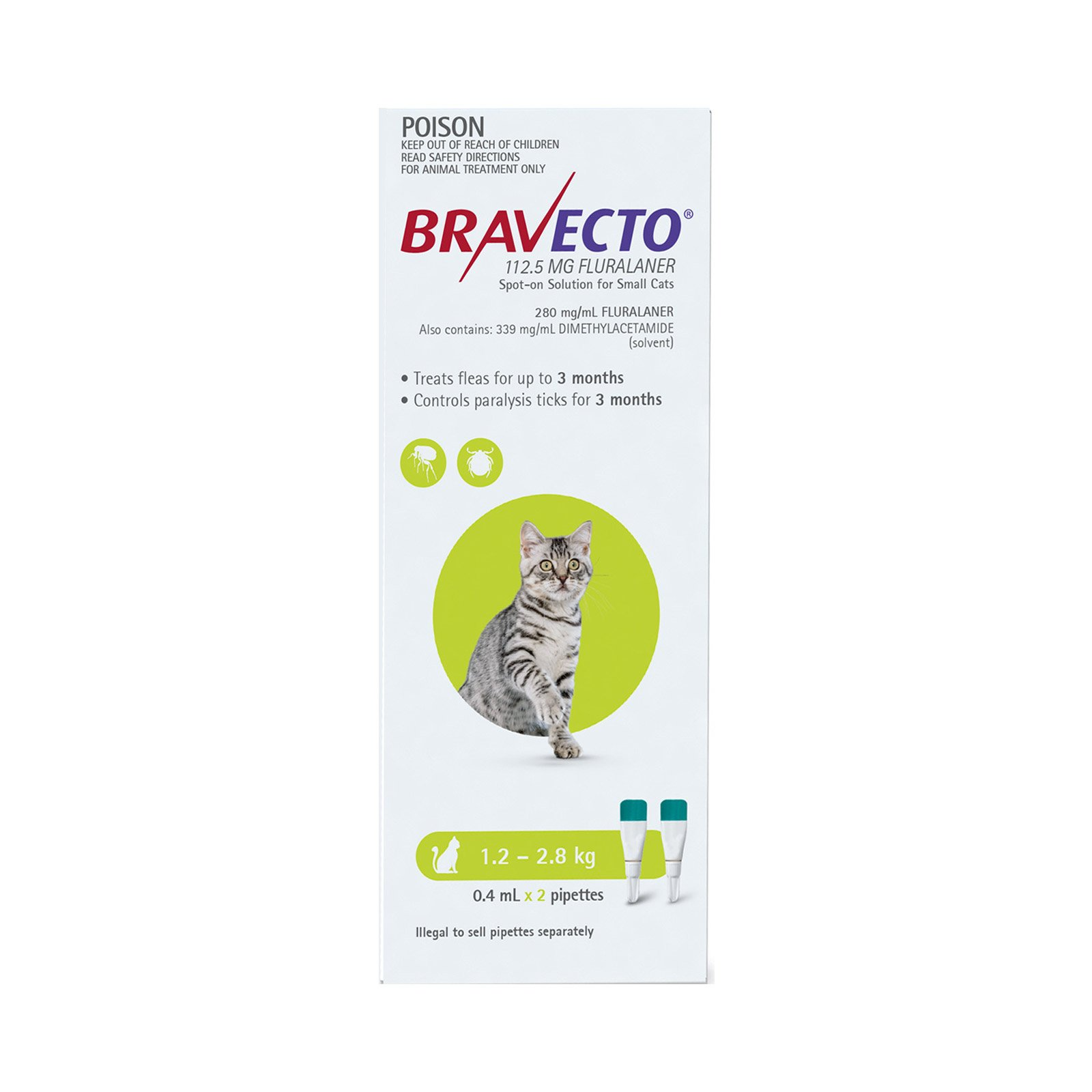 Bravecto Spot On For Small Cats (1.2 - 2.8 Kg) Light Green 2 Pipettes