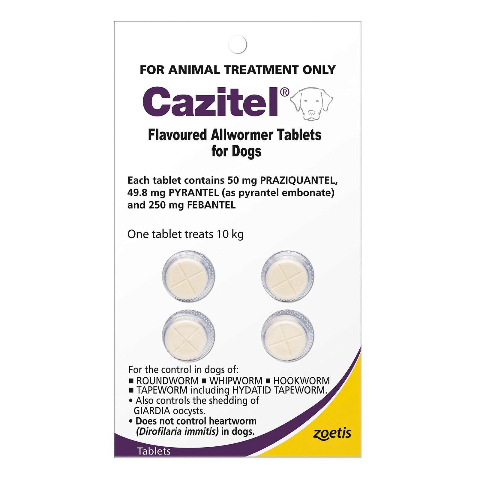 Cazitel Flavoured Allwormer For Dogs 10Kg (Purple)